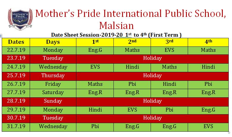 1 to 4 – Mother\'s Pride International Public School Senior